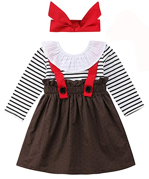 f693ebc21afa YOUNGER TREE 1-4 T Little Baby Girl Outfits Long Sleeve Shirt Overall Skirt  Headband