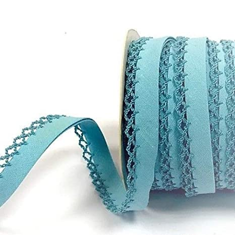 Plush Addict 12mm Bias Binding Double Folded Lace Edged Pale Blue 5 Metre Pack