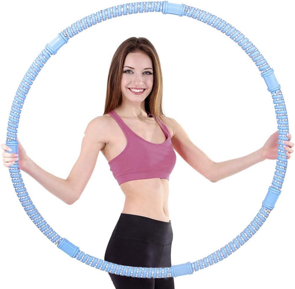 duoying Aros de piedra de cuentas pesadas, desmontables para adultos y mujeres, equipo de fitness, aro hoola extraíble para adultos