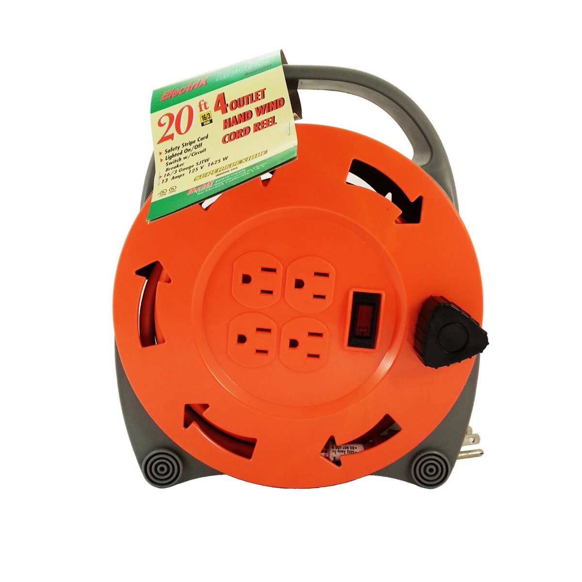 ElectriX 20 Ft 16/3 AWG Gauge SJTW 4 Outlet Hand Wind Grounded Cord Reel Retractable UL Listed EC094