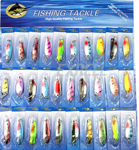 30pcs Kinds Fishing Lures : Crankbaits Hooks Minnow Baits Tackle : Lot New Metal Hook