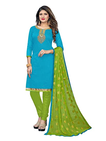 496eb5ab89 Sun Fashion And Lifestyle Women's Chanderi Silk Handwork Dress Material Suit  (Firozi and Parrot;