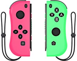 Joy Con Controller Replacement Campatiable for Nintendo Switch - Left and Right Neon Joycon Pad with Wrist Strap, Alternative