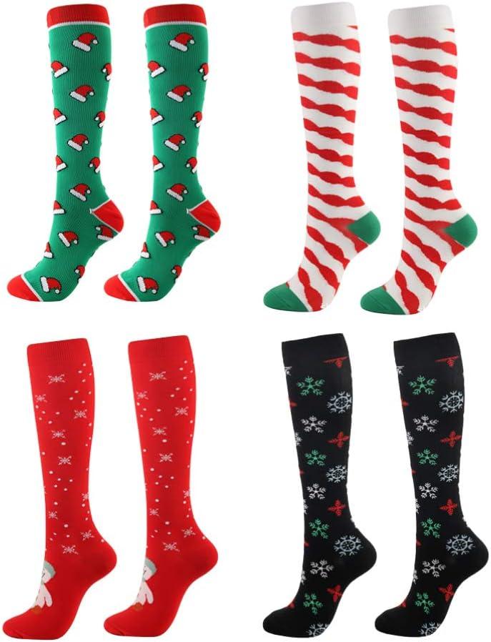 LIOOBO 4 Pares de Medias de compresión navideñas Medias hasta la Rodilla Medias Transpirables para Mujeres Calcetines de Disfraces de Fiesta de Navidad tamaño a Favor