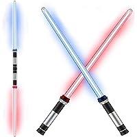 Light Up Saber,Saber Lightsaber,LED Light Saber,2 Pack Telescopic Extendable and Collapsable Laser Sword   2-in-1 LED…