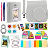 DNO Fujifilm Instax Mini 9/8 Camera Accessories (11 Piece Kit) - Includes Protective Case/ Hanging Frames/ Filters/ Selfie Len/ Photo Album/ Stickers and More - Portable & Perfect Gift (Smokey White)