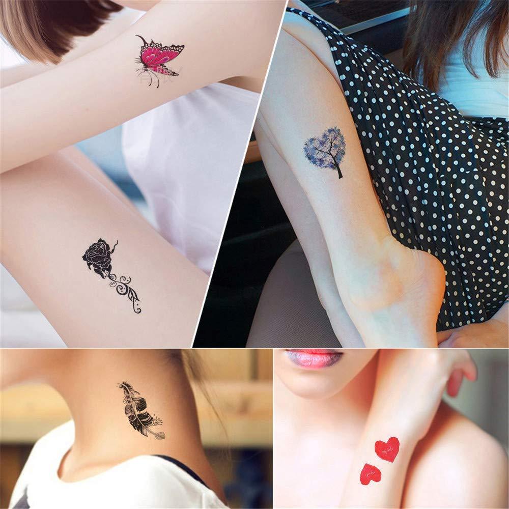 YALANK 30 Sheets Temporary Tattoos Sticker For Women Girls Models Adults, Colorful Body Art Sticker Makeup Waterproof Sexy Realistic Arm Fake Tattoos Sticker Hand Neck Wrist Fashion