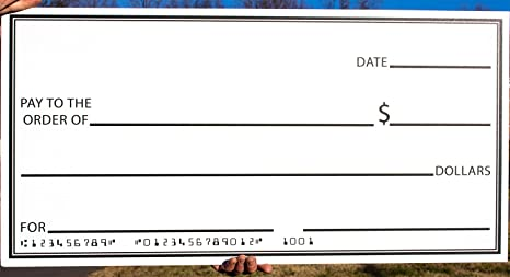 Giant Fake Check 16 x 32 Made of Durable Corrugated Plastic  Big Oversized  Cheque is Perfect for Awards, Gifts, Endowments Donations, Celebrations &