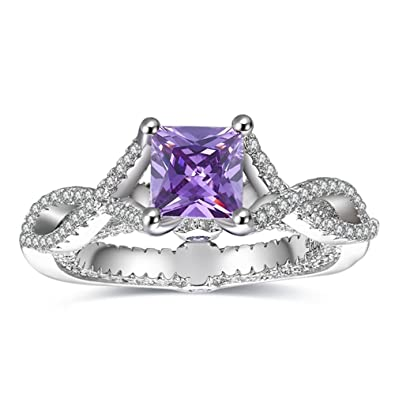 MDEAN White Gold Color Wedding Rings Women Engagement Ring Purple Jewelry Fashion Bague Size 6 7