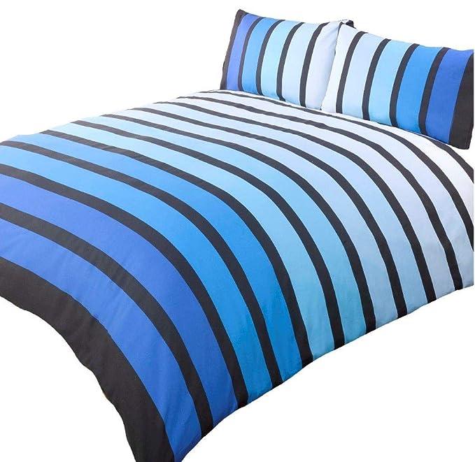 DOUBLE PACIFIC BLUE COTTON BLEND STRIPED DUVET COVER SET #OHOS *RH*