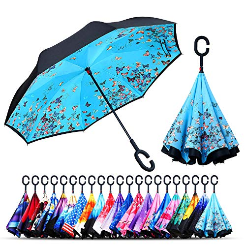 Owen Kyne Windproof Double Layer Folding Inverted Umbrella, Self Stand Upside-Down Rain Protection Car Reverse Umbrellas with C-Shaped Handle (Blue ()