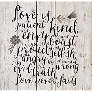 Love Is Patient Love Is Kind Floral White Wash 18 x 17 Inch Solid Pine Wood  sc 1 st  Do-it-yourself.store & Love is patient love is kind wall art wood | Do-it-yourself.Store