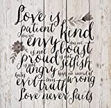 P. GRAHAM DUNN Love is Patient Love is Kind Floral White Wash 18 x 17 Inch Solid Pine Wood Pallet Wall Plaque Sign