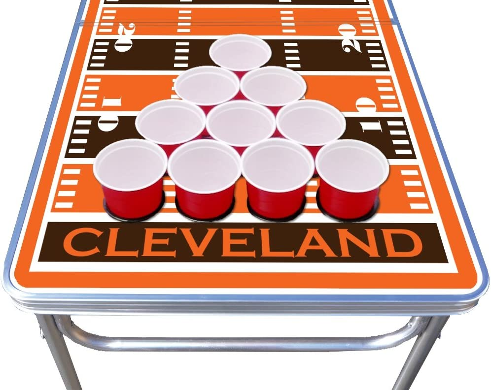 8-Foot Professional Beer Pong Table w//Optional Cup Holes Cleveland Football Field Graphic