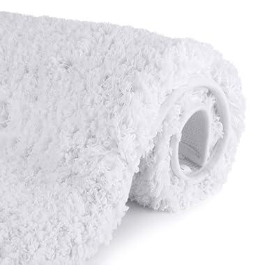 Luxury White Bathroom Rugs Shaggy Bath Rug Non Slip Bath Mat (20 x 32) - Efficient Water Absorbent, Machine Wash/Dry & Extra Soft Plush Bath Tub Mat for Bathroom, Living Room and Laundry Room
