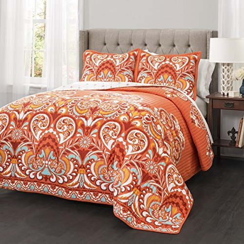 3 Piece Orange Damask Quilt King Set