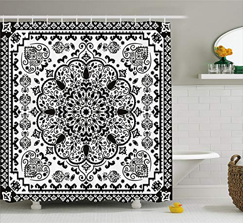 Ambesonne Ethnic Shower Curtain, Ethnic Mandala Floral Lace Paisley Mehndi Design Tribal Lace Image Art, Cloth Fabric Bathroom Decor Set with Hooks, 70 Inches, Charcoal Grey