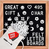 "Black Felt Letter Board With Sturdy Oak Frame By Bitos Home - 10x10"" Message Board Sign With 495 White Plastic Letters in Canvas Bag, Stand, Scissors & Ebook - Great Notes Board For Wall & Home Decor"
