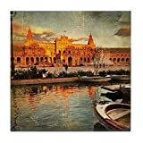 CafePress - Seville, Plaza Espana On Sunset, Arti - Tile Coaster, Drink Coaster, Small Trivet