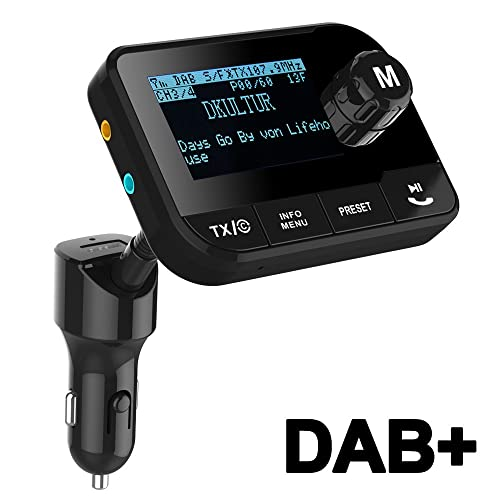 """Blufree In Car DAB+ Radio Adapter FM Transmitter, Bluetooth MP3 Music Receiver Handsfree Car Kit, 2.3"""" LCD Crystal Sound Portable DAB Digital Radio with Goose Neck/USB Car Charger/SD Card Slot/AUX Out"""