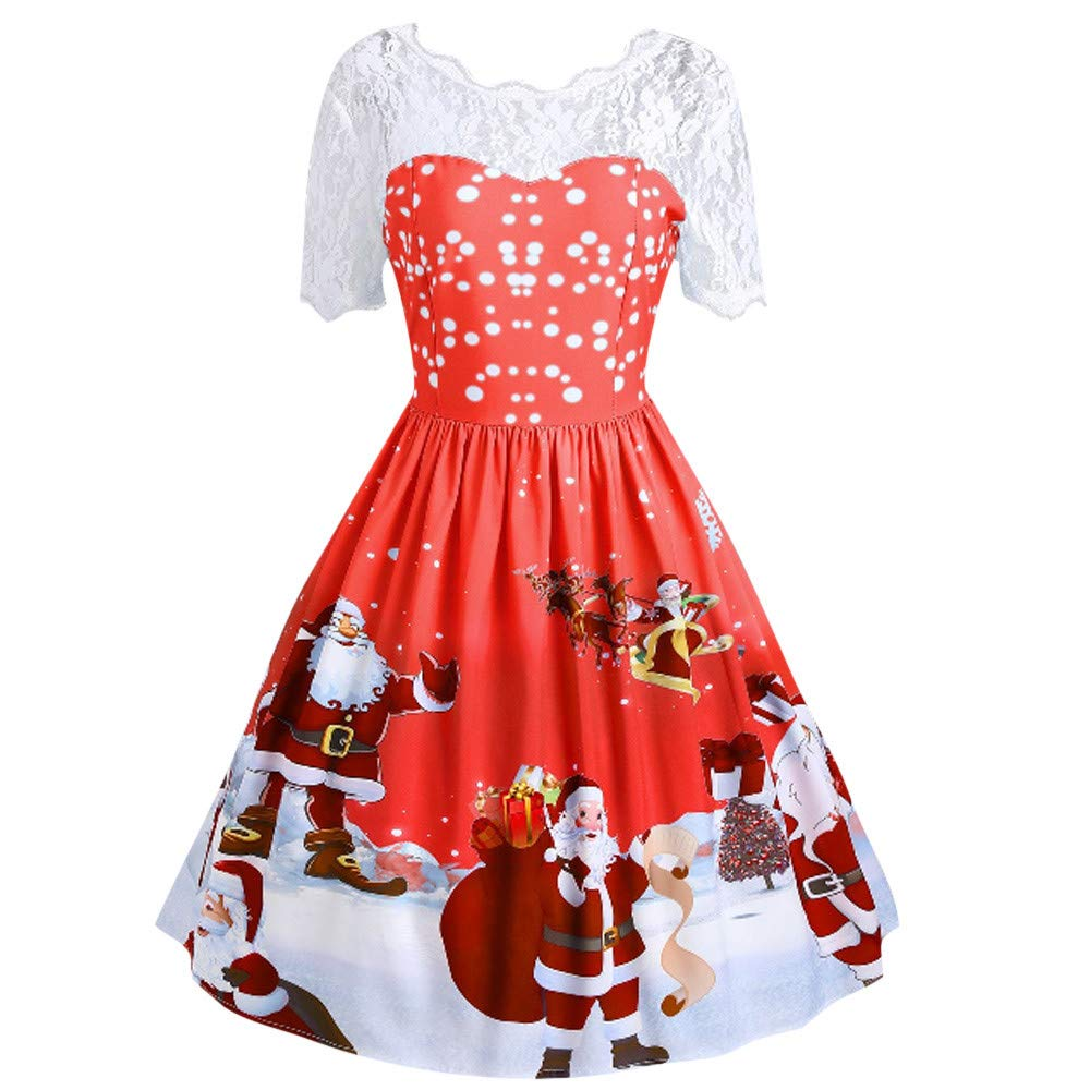 7ef1eebe3f09 Vintage Dresses for Women for Christmas Santa Claus Print Lace Eveing Party  Dress for Ladies Teen Girls Fashion Xmas Swing A-line Dress Ball Gown Prom  ...