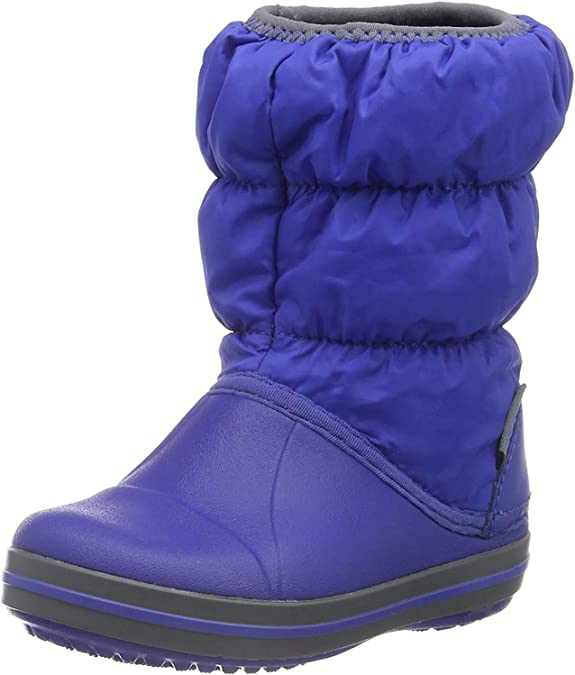 Crocs Kids' Winter Puff Boot Snow, Blue (Cerulean Blue/Light Grey), 2 UK Junior 2,Crocs,Winter Puff Boot - K