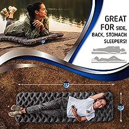 RikkiTikki Premium Lightweight Inflatable Sleeping Pad – Compact Camping Mat for Sleeping – Best Air Camping Mattress Pad for Backpacking, Camping, Hiking