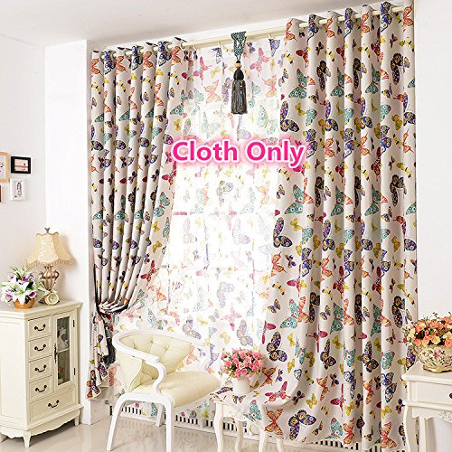 WPKIRA Window Treatments Home Fashion Decor Colorful Butterfly Printed thermal Insulated Darkening Blackout Curtains Door Balcony Curtain Panel,1panel W40 x L84 inch