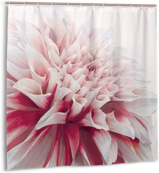 Amazon Com Zhengzho Shower Curtain For Bathroom Decor Curtains Set Close Up Dahlia Blossom With Red And White Petals One Single Large Flower Fabric Bath Curtains With Hooks 60x72in Home Kitchen