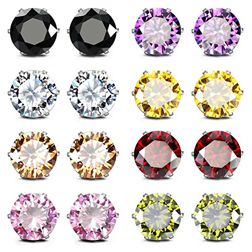 JewelrieShop Stainless Steel CZ Post Earrings Set Birthstone Studs for Women Piercing Hypoallergenic Multi Color Round Square Cuts Cubic Zirconia Sensitive Ears Earrings (8Pairs,8mm,Round)