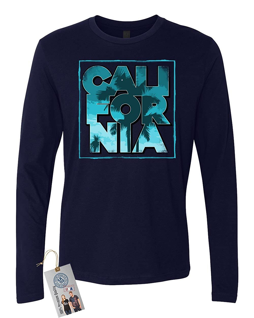 Custom Apparel R Us California Palm Trees Mens Long Sleeve