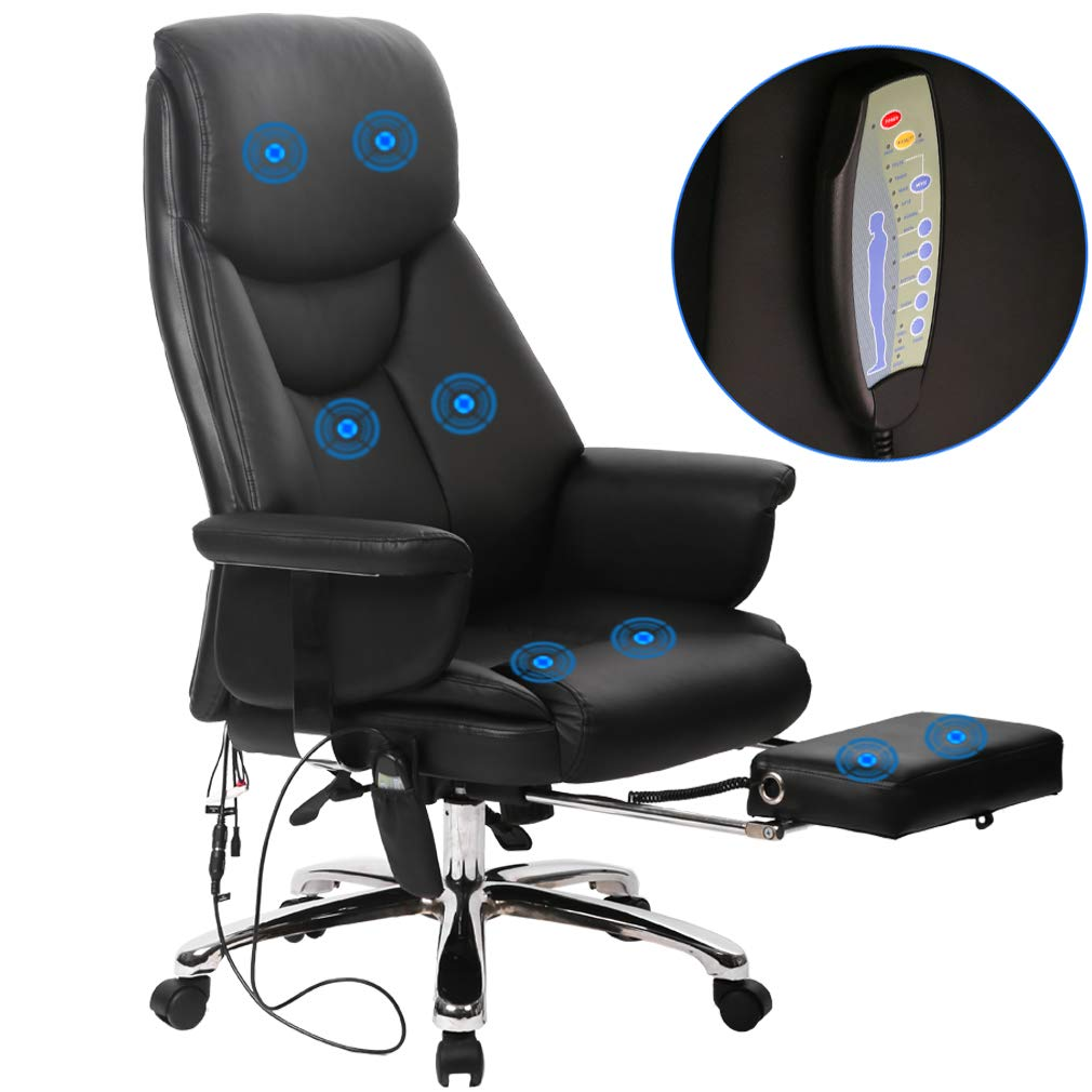 BestOffice New Gaming Chair High-Back Computer Chair Ergonomic Design Racing Chair (Massage Chair Black)
