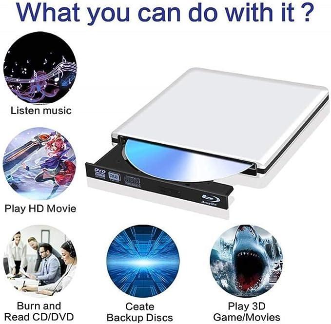 EqWong - Lector de BLU-Ray y Disco óptico Externo (USB 3.0 ...