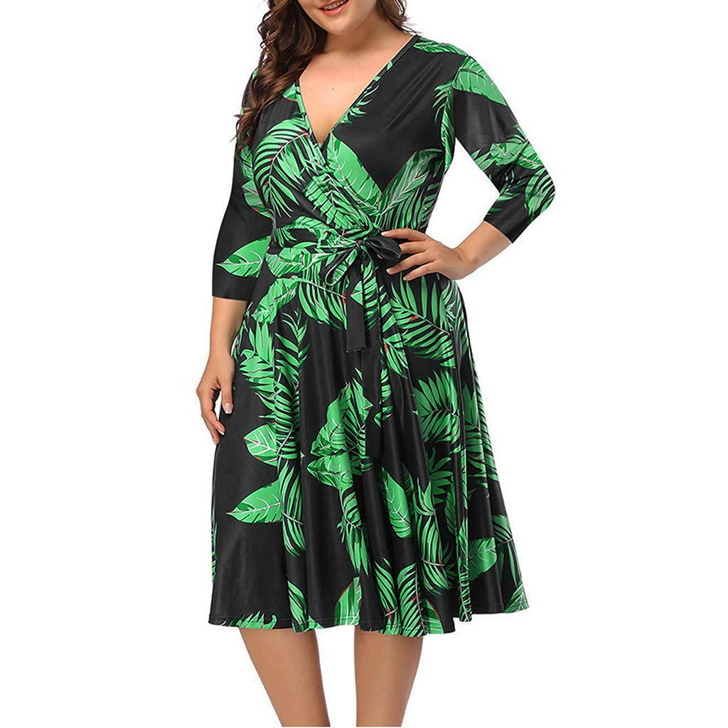 Botrong Plus Size Dresses for Women, V-Neck Printed Short Sleeve Elegant Dress with Waistband