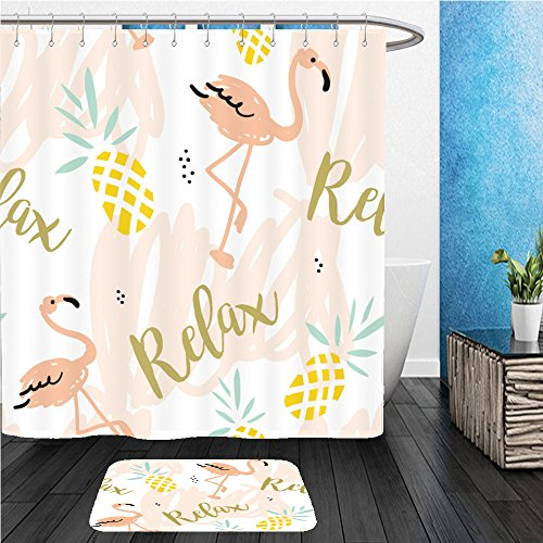 Betty Blush (Beshowereb Bath Suit: ShowerCurtian & Doormat blush pink flamingo pineapples and message relax on a white background with pastel strokes vector 387782320)