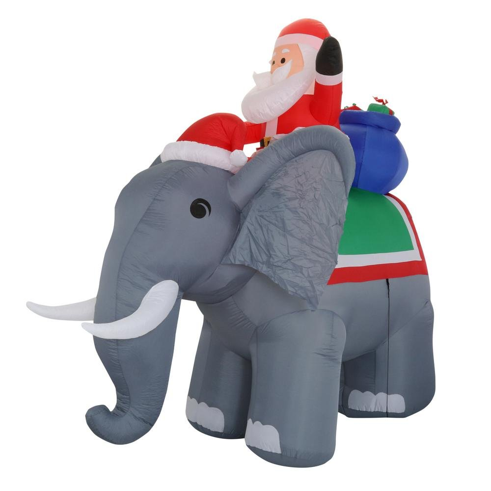 10.5 Lighted Giant Santa on Elephant
