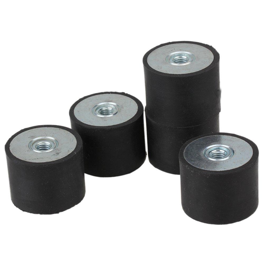 CNBTR 40x30mm Black DE Rubber Female M8 Thread Mounts Isolator Replaces Anti Vibration Pads Flat Silentblock Base Block Pack of 5