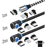マグネット ケーブル TOPK 結束テープ&収納袋付き Type C/Micro USB/ライトニング 充電ケーブル【3in1】360度回転 LEDランプ付き アイフォン/Android/Type-C対応マグネット ケーブル