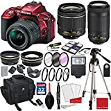 Nikon D5500 (Red) DX-format Digital SLR w/AF-P DX NIKKOR 18-55mm f/3.5-5.6G VR Lens, AF-P DX NIKKOR 70-300mm f/4.5-6.3G ED + 3pc Filter Kit + Professional Accessory Bundle