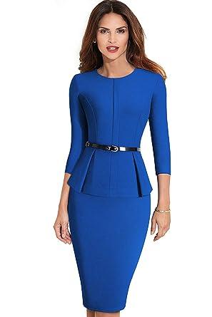 36abc26ead MisShow Women's 3/4 Sleeve Professional Business Pencil Dress with Belt Blue  S