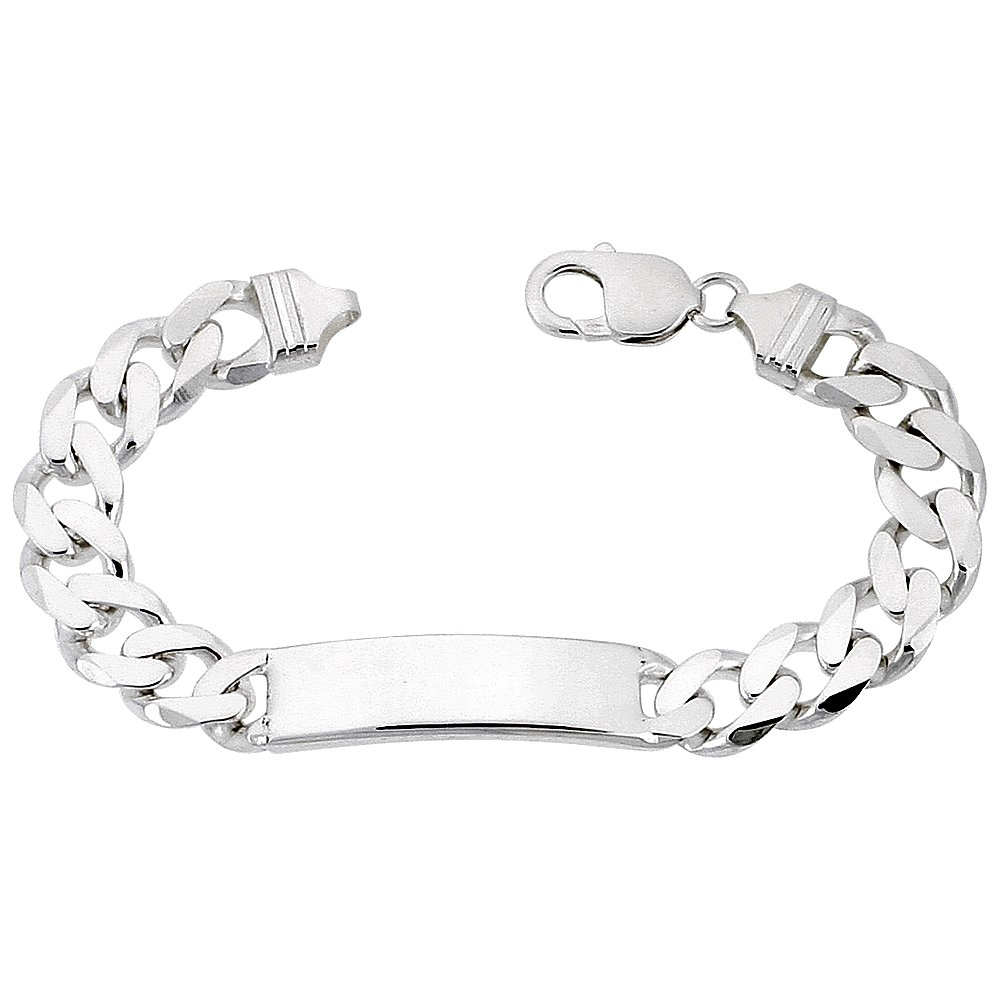 Sterling Silver ID Bracelet Curb Link 3/8 inch wide Nickel Free Italy, 8 inch