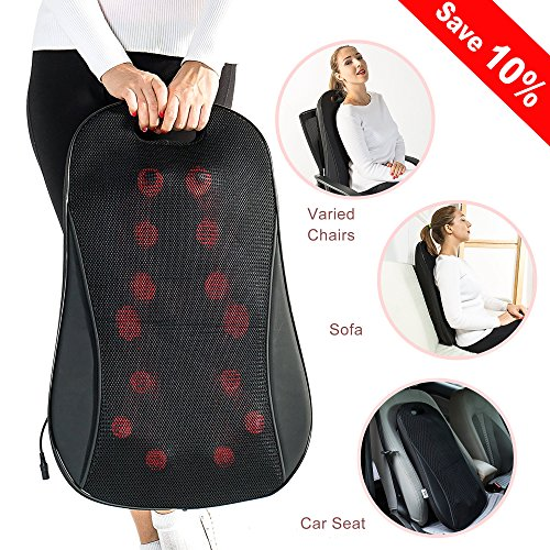 AMEISEYE Back Massager Shiatsu Kneading Massager Cushion with Heat for Lower, Upper Back and Waist (Black) by AMEISEYE