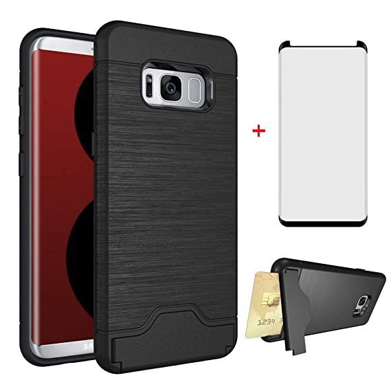 Samsung Galaxy S8 Plus Wallet Phone Case with Friendly Tempered Glass  Screen Protector Credit Card Holder a896156f9b