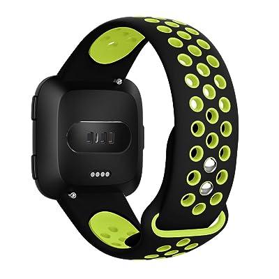 Amasells pour Fitbit Versa BU Bands, Eplacement avec orifices de ventilation souple en silicone Sport Strap pour Fitbit vers