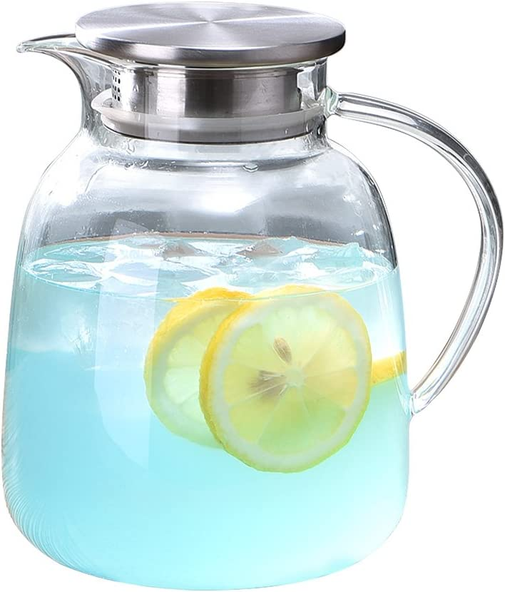 WarmCrystal, Glass Pitcher with Lid for Cold Water, Juice, Coffee, Lemonade and Wine, The Glass Teapot is Suitable for Your Fridge and Coffeemaker (64 oz)
