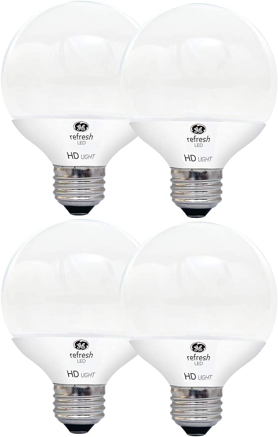 GE Lighting LED Relax HD 6 (60-watt Replacement), 500-Lumen G25 Light Bulb with Medium Base, Soft, Frosted White, 4 Bulbs