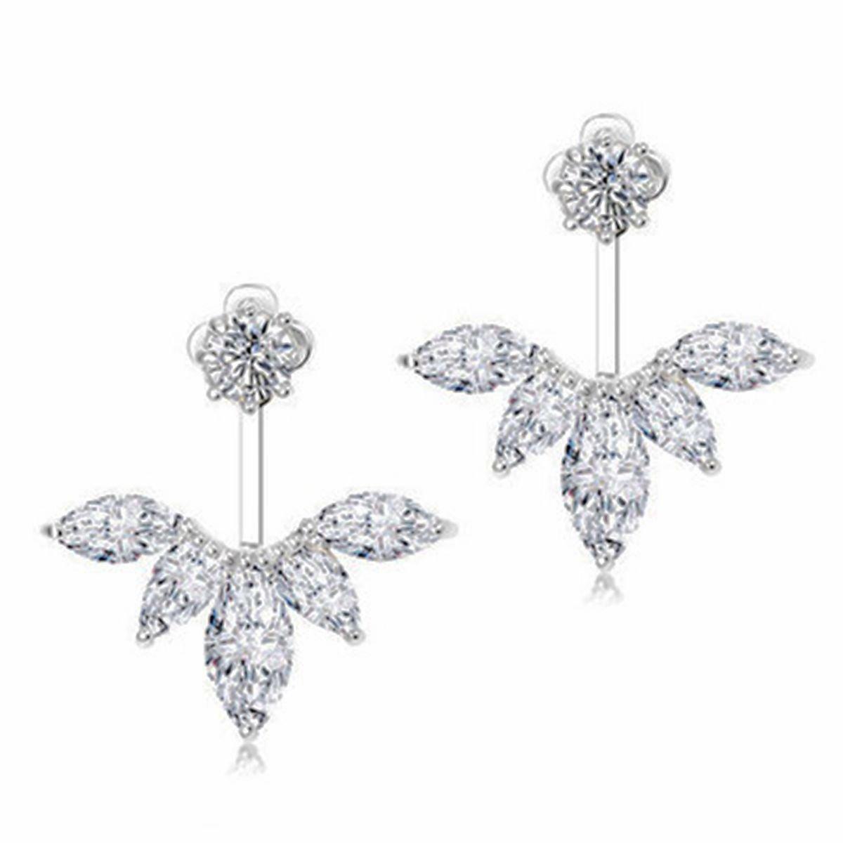 5be97f3dfb9 Amazon.com  Odette 18K White Gold Plated Clear Crystal Leaf Feather Ear  Jacket Earrings Back Ear Cuffs Stud Earring (Silver)  Jewelry