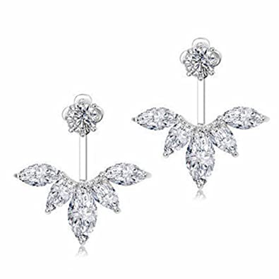 6a3340f3c Amazon.com: Odette 18K White Gold Plated Clear Crystal Leaf Feather Ear  Jacket Earrings Back Ear Cuffs Stud Earring (Silver): Jewelry