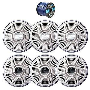 """3 x Pioneer 6.5"""" Dual Cone 100W Marine/Outdoor Stereo Speaker (White) (3 Pairs), Enrock Audio Marine Grade Spool of 50 Foot 16-Gauge Speaker Wire"""