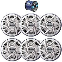 3 x Pioneer 6.5 Dual Cone 100W Marine/Outdoor Stereo Speaker (White) (3 Pairs), Enrock Audio Marine Grade Spool of 50 Foot 16-Gauge Speaker Wire